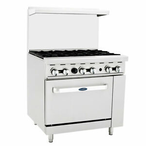 New 36 6 Burner Range Gas Oven Atosa Ato 6b 6037 Commercial Restaurant Nsf