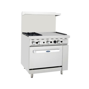 New 36 2 Burner 24 Griddle Range Gas Oven Atosa Ato 2b24g 6040 Commercial