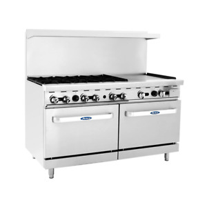 New 60 Range 6 Open Burner 24 Flat Top Plancha Griddle Double Gas Oven Atosa