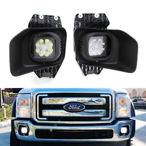 27w Led Fog Lights W Bezels Brackets Wiring For 11 16 F250 F350 F450 Super Duty