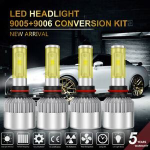 9005 9006 4pcs Led 400w 40000lm Combo Headlight High Low Beam 6500k Kit Bulbs