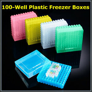 2 inch 100 well Cryogenic Vials Microcentrifuge Tubes Storage Boxes 20x