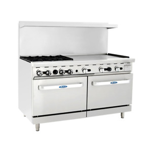 New 60 Range 4 Open Burner 36 Flat Top Plancha Griddle Double Gas Oven Atosa