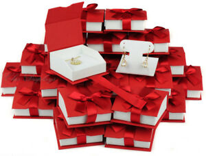 Lot Of 36 T shaped Earring Box Magnetic Ribbon Red Pendant Box Jewelry Gift Box