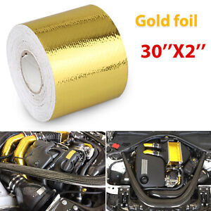 2 30ft Gold Intake Heat Reflective Tape Wrap Self adhesive High Temperature Us