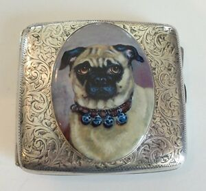 Antique English Sterling Silver Cigarette Case Enamel Pug C 1905
