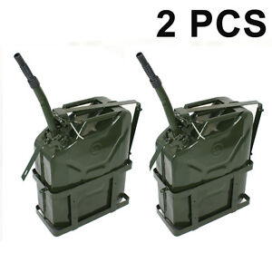 2pc 5 Gallon 20l Jerry Can Fuel Steel Tank Military Green W Holder