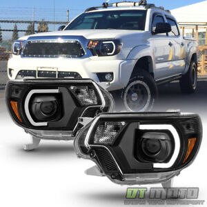For 2012 2013 2014 2015 Toyota Tacoma Led Drl Light Tube Projector Bk Headlights