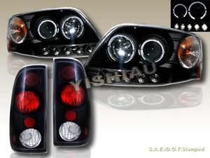 8 1997 2003 Ford F 150 Projector Headlights Black Twin Halo Led Tail Lights