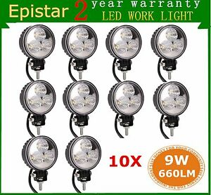 10x 9w Epistar Led Work Light Flood Suv Ute Jeep Off Road Fog Driving Lamp Round