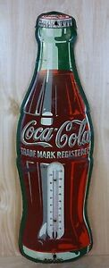 Old Coca-Cola Thermometer Coke Soda Advertising Tin Metal Sign Figural Bottle