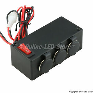 3 Port Cigarette Lighter Adapter Outlet Extension Box On Off Switch 12v Dc 15a