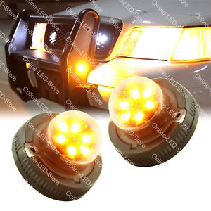 2pc 2nd Gen 6w Amber Led Hide Away Emergency Vehicle Warning Strobe Light
