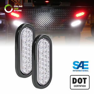 2pc 6 Oval White 24 Led Rv Truck Trailer Tail Lights Reverse Back Up Waterproof