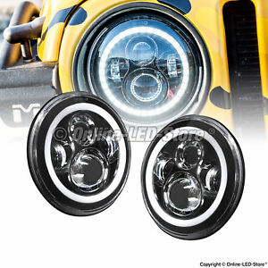 2pc 7 Round Led Headlight 45w H4 Turn Signal Drl For Jeep Wrangler Jk Lj Tj