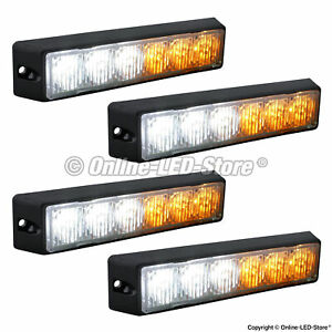 4pc 6w Led Police Personal Vehicle Truck Strobe Warning Grille Light Amber White
