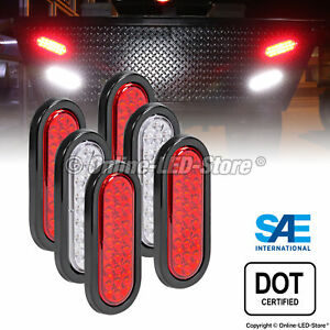 4 Red 2 White 6 Oval 24 Led Trailer Tail Lights Brake Turn Signal Reverse Rv