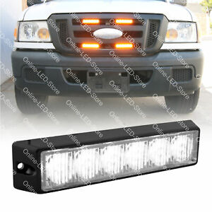 6w Led Ems Emt Police Emergency Vehicle Grille Grill Warning Light Head white