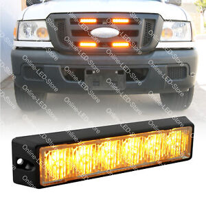 6w Amber Led Strobe Warning Grille Lights For Cars Trucks Emergency Vehicles