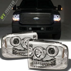 2005 2006 2007 Ford F250 F350 F450 Superduty Led Halo Projector Headlights 05 07