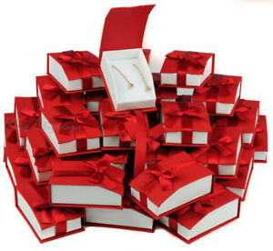 Lot 36 Earring Pendant Box Red Pendant Box Magnetic Ribbon Jewelry Gift Box