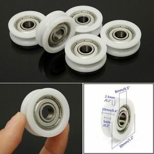 5pcs 8 30 10mm Nylon Plastic Embedded 608 U Groove Ball Bearing Guide Pulley Hot