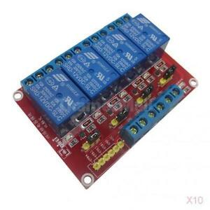 10x 24v 4 Channel Relay Board Module Optocoupler Led For Arduino Pic Arm Avrc