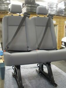 Ford Transit Oem Seat Pewter Vinyl 36 Dual Pass W hardware Slight Blemish