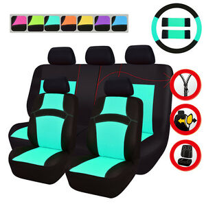 Universal Mint Blue Car Seat Covers For Boy Girls Steering Wheel Cover Airbag Fi