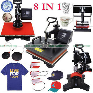 8 In 1 Transfer Sublimation T shirt Mug Hat Plate Cap Heat Press Machine Us Ship