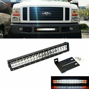 Strobe Function Lower Grill Led Ligth Bar W Bracket Wire For 08 10 Ford F250