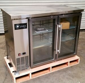 New 48 2 Door Glass Bar Cooler Back Saba Sbb 24 48gss 4466 Stainless Steel