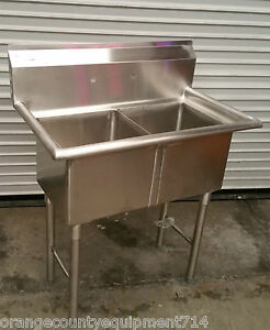 New 2 Compartment 15x15 Sink 2240 Stainless Steel Nsf Double Basin Hand Wash