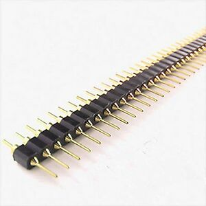 Gold Plated 2 54mm Male 40 Pin Single Row Straight Round Pin Header Strip 10 Pcs