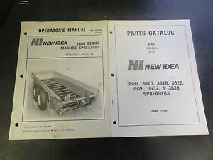 New Idea 3600 Series Manure Spreaders Operators Manual With Parts Catalog