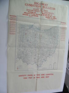 1946 Ohio Department Of Highways Road Condition Bulletin Map 38 X 24 Vintage