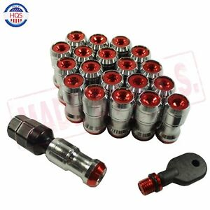 Red Extended Dust Cap Steel Wheel Lug Nuts Nut Rims Tuner M12x1 5 With Lock