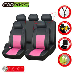 Universal Car Seat Covers Pink For Women Girls 11 Set Leather Rear Split 60 40
