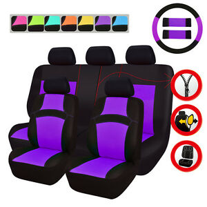 Universal Car Seat Covers Purple For Women Girls Airbag Rear Split Seat 40 60