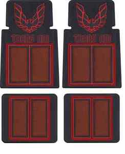 1970 81 Trans Am Custom Molded 4 Pc Floor Mat Set Black Rubber Red Carpet