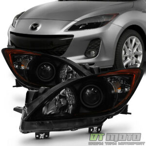 Black Smoked 2010 2013 Mazda 3 Mazda3 Halogen Model Headlights Headlamps Light