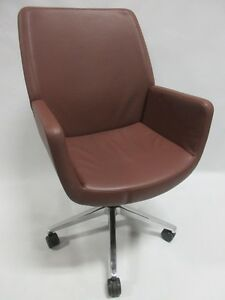 Coalesse by Steelcase Bindu Conference Executive Chair In Brown Leather