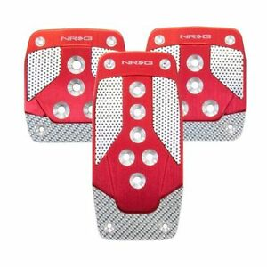 Nrg Pdl 400rd Manual Sport Pedal Aluminum Red W Silver Carbon