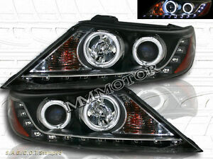 Fit For 2011 2013 Sorento Projector Ccfl Halo Ring Led Black Headlights