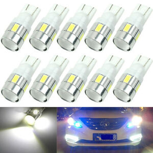 10pcs T10 W5w 5630 6 Smd Led Car Side Light Bulb Wedge Lamp 168 194 192 158white