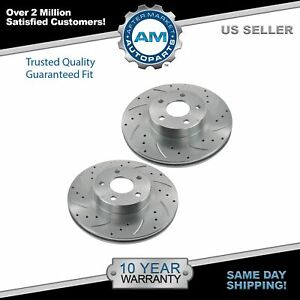 Nakamoto Performance Drilled Slotted Front Coated Brake Rotor Pair For Subaru