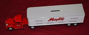 Antique Maytag 1948 Diamond T Tractor Trailer Bank Toy Gas Engine Motor Die Cast