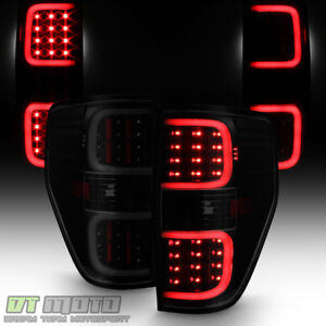 Black Smoked 2009 2014 Ford F150 F 150 Led Pyro Tube Tail Lights Brake Lamps Set