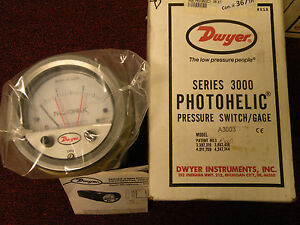 Dwyer Photohelic Pressure Switch gauge A 3003 0 3 Water 25psig Max Pressure