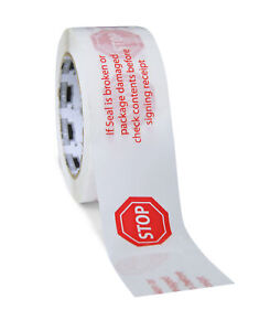 48 Rolls 3 Inch X 110 Yards 2 Mil Acrylic Carton Sealing Stop Printed Tape